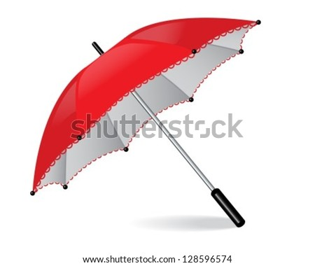 red umbrella with lace and shiny black handle - stock vector