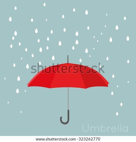 Red umbrella with rain. Vector background - stock vector