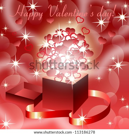 Red valentine  background with magic open gift box , eps10