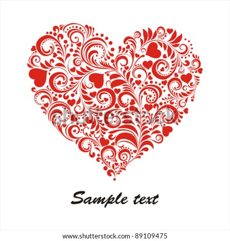 Red valentine heart in floral style isolated on White background. Celebration background with heart and place for your text. Vector illustration