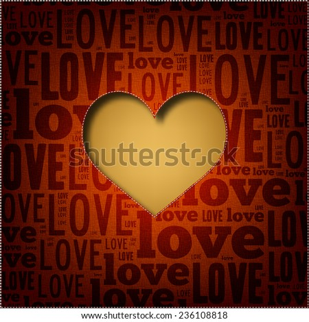 Red Valentine's Day background with heart shape. Love poster (EPS10 Vector) - stock vector