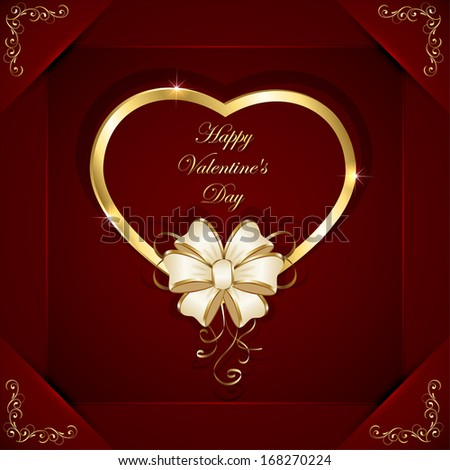 Red valentines background with golden heart and beige bow, illustration.