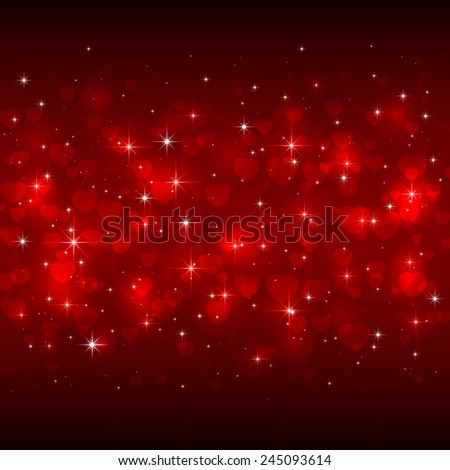Red Valentines background with hearts and shiny stars, illustration. - stock vector
