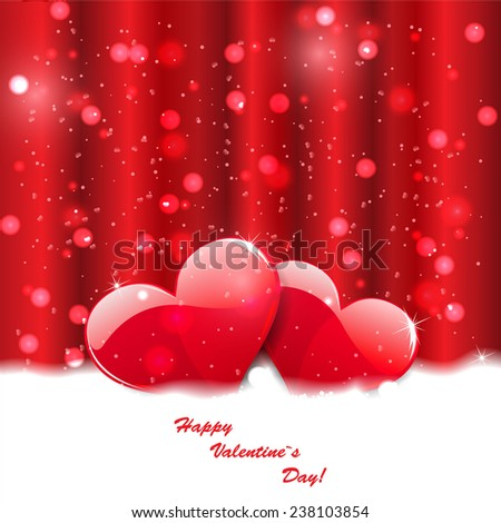 Red valentines day background  - stock vector