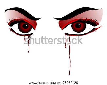 Red vampire eyes on white background - stock vector
