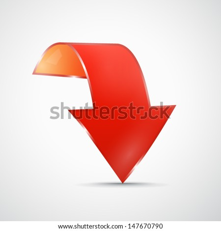 Red vector arrow on grey background  - stock vector