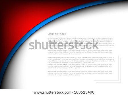 Red vector background abstract blue line curve pattern on white background for text and message design - stock vector