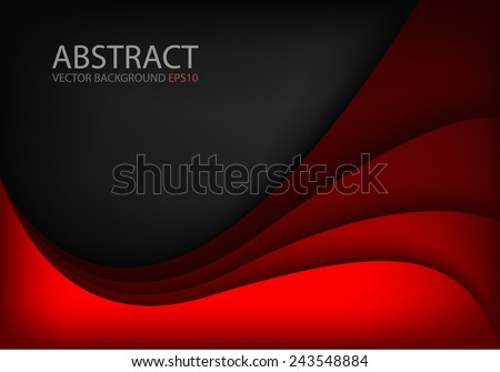 Red vector background curve line on black dark space shadow overlap layer modern texture pattern for text and message website design - stock vector