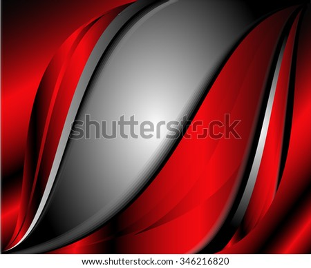 Red Vector Background Curve Silver Grey Line On Dark Space Overlap Layer Graphic For Text And