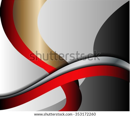 Red vector background curve silver grey line on dark space overlap layer graphic for text and message modern artwork design  - stock vector