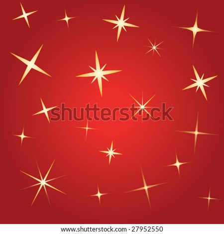 Red vector background with stars - stock vector