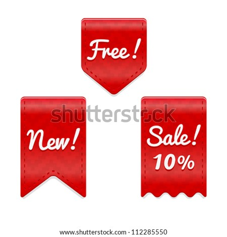 Red vector badges. Vector web icons. Web buttons set - stock vector