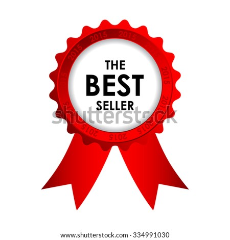 red vector best seller badge  - stock vector