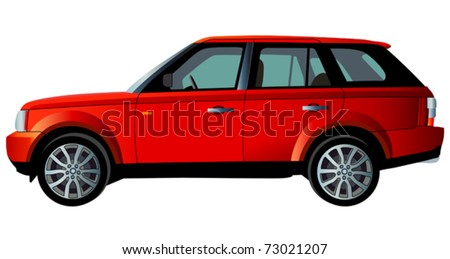 Red vector car. (simple gradients only, no gradient mesh) - stock vector