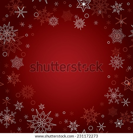 red vector christmas background with snowflakes
