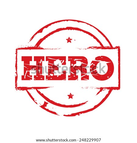 Red vector circles grunge stamps HERO