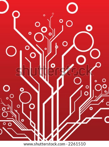 red vector circuits - stock vector