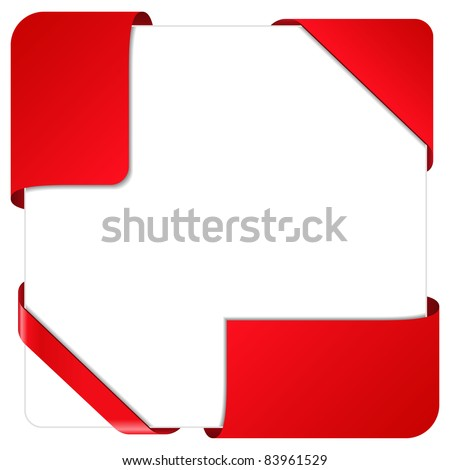 Red Vector Corner Ribbons - stock vector