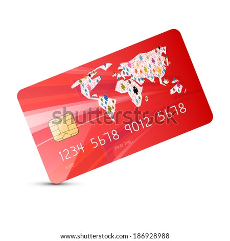 Red Vector Credit Card Illustration Isolated on White Background