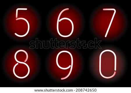 Red vector digits. Gradient mesh. Vector illustration. - stock vector