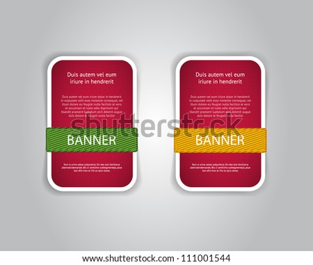 Red vector fabric textured banners with fabric buttons