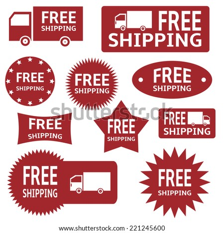 red vector free shipping labels over white background. - stock vector
