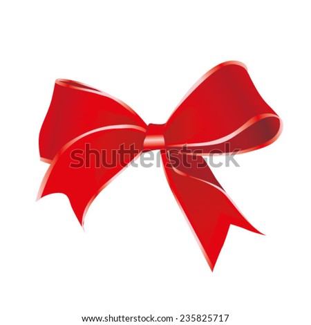 Red vector gift bow and ribbon. Vector illustration Eps 10.