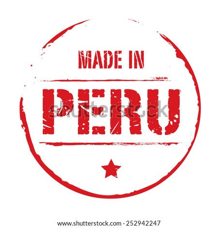 Red vector grunge stamp MADE IN PERU