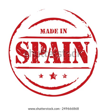 Red vector grunge stamp MADE IN SPAIN - stock vector