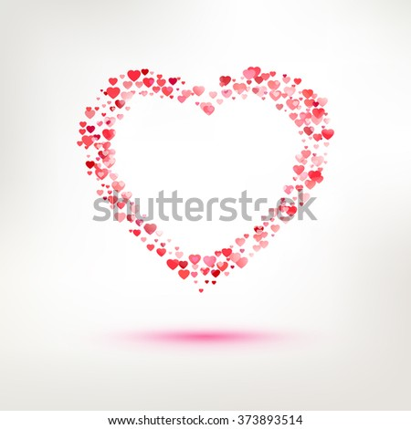 red vector love heart illustration for romance cards and happy valentines day greetings multi hearts
