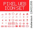 Red vector pixel web icons set - stock vector