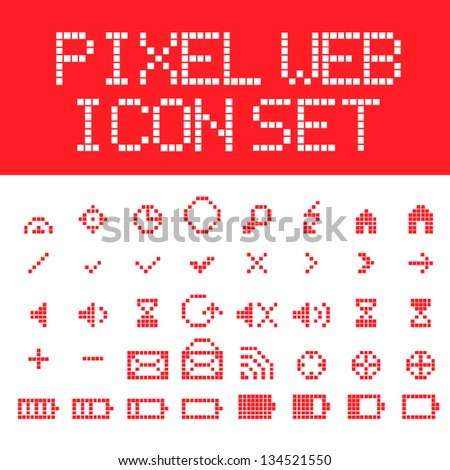 Red vector pixel web icons set