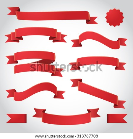 Red Vector Ribbons Set - stock vector