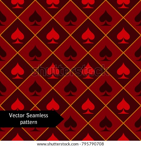Red vector seamless pattern of playing card icons.
