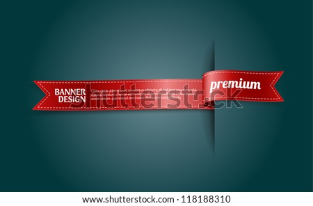 "Red vector silky ribbon banner / tag ""Premium"" - stock vector"