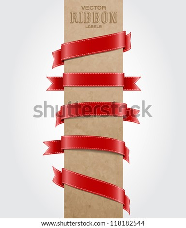 Red vector silky ribbon tags collection - stock vector