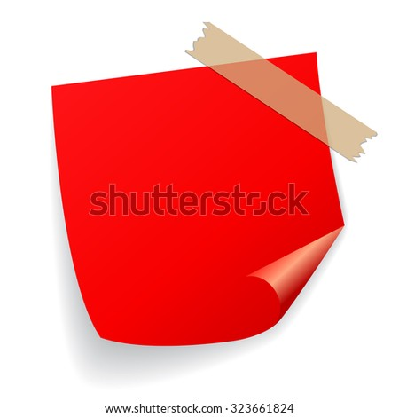 Red vector sticker isolated on white background