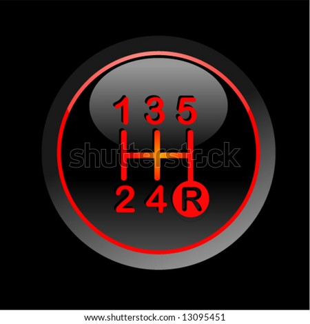Red vehicle's gear on black background - stock vector