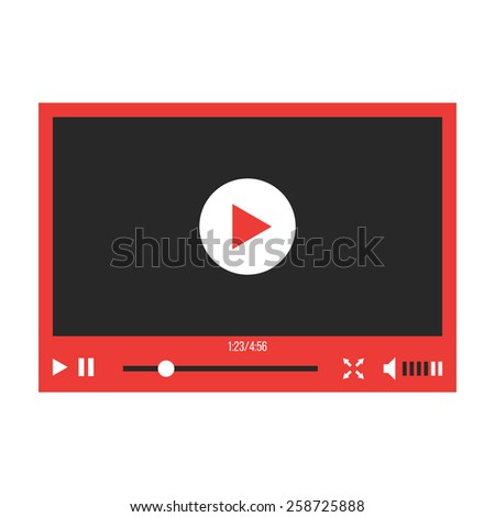 red video player interface isolated on white background. concept of streaming television, communication, tv clip, motion filmstrip. flat style trendy modern design eps10 vector illustration - stock vector
