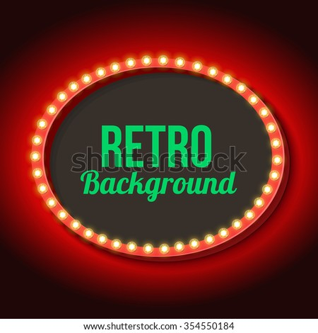 Red vintage frame. Realistic 3D oval with a neon light. Retro shape with black space for your text, messages, events, advertising. Light incident on the wall. Vector illustration - stock vector