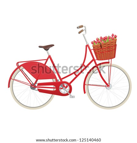 Red vintage ladies bicycle with wicker basket filled with tulips - stock vector