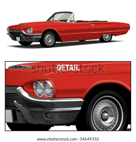 Red Vintage Luxury Convertible - stock vector