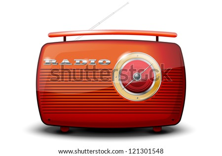 Red vintage radio on white background - vector file - stock vector