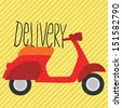red vintage scooter, delivery illustration - stock vector