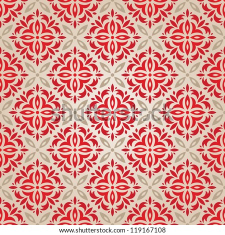 Red vintage seamless wallpaper. EPS 8 vector illustration. - stock vector