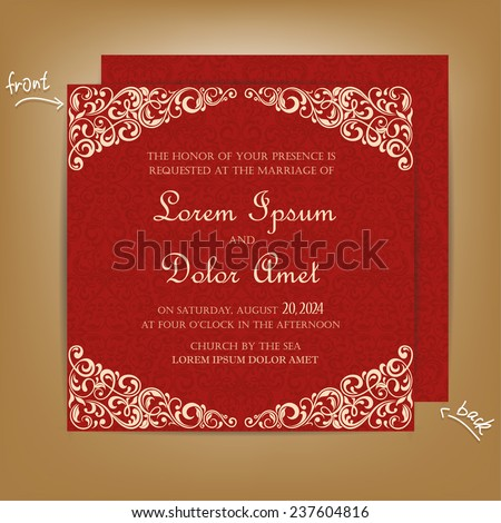 Red vintage wedding invitation card stock vector 2018 237604816 red vintage wedding invitation card stopboris Image collections
