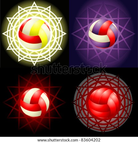 Red volleyballs on the different background - stock vector