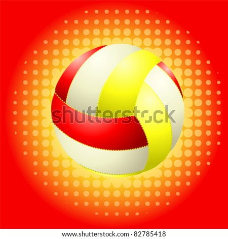 Red volleyballs on the halftone background - stock vector