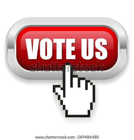 Red vote us button with metal border on white background - stock vector