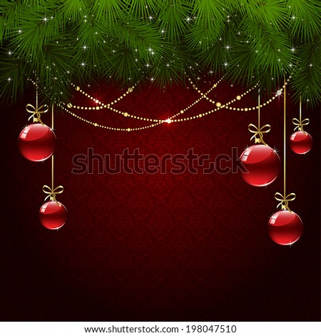 Red wallpaper with branches of Christmas tree and baubles, illustration. - stock vector